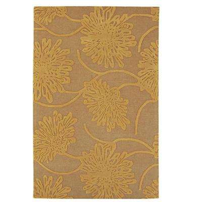 Bouquet Latte/Gold 8 ft. x 8 ft. Round Area Rug