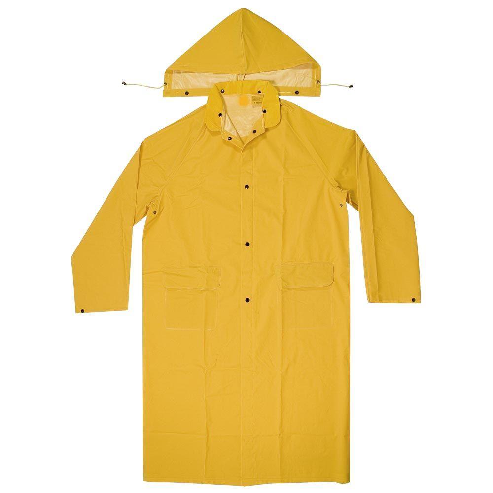 Men's Size M 0.35 mm PVC/Polyester Yellow Rain Coat with Detachable Hood