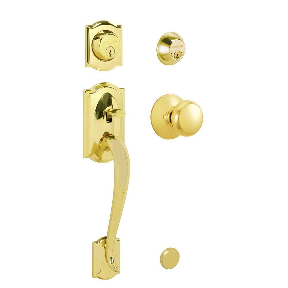 Schlage Camelot Bright Brass Double Cylinder Deadbolt With Plymouth Knob Door  Handleset