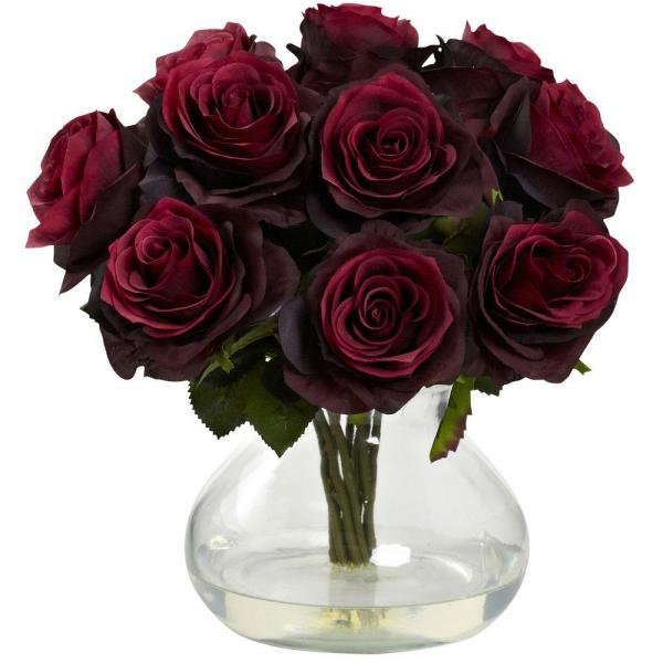 Nearly Natural Rose Arrangement with Vase 1367-BG