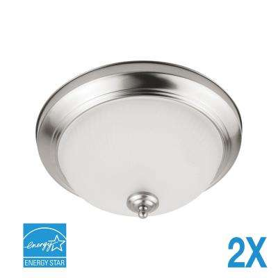 70-Watt Brushed Nickel Integrated LED Flushmount (2-Pack)