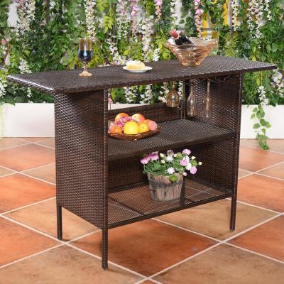 Brown Metal 36 in. H Outdoor Picnic Table with Extension