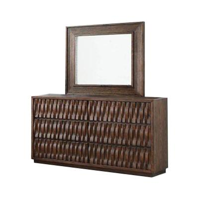 38 in. H x 64 in. W x 20 in. D Eutropia Warm Chestnut Dresser and Mirror Set 6-Drawers