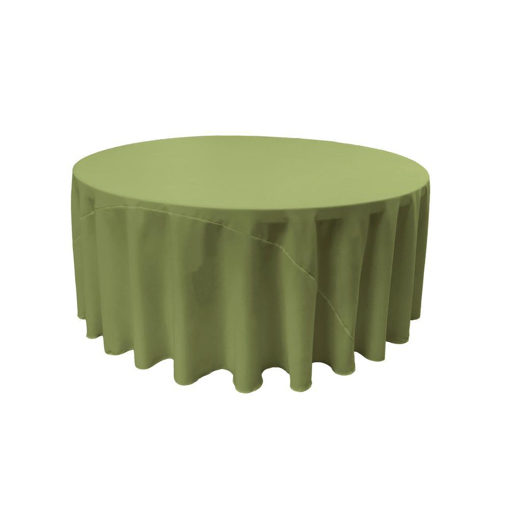 132 in. Round Dark Sage Polyester Poplin Tablecloth