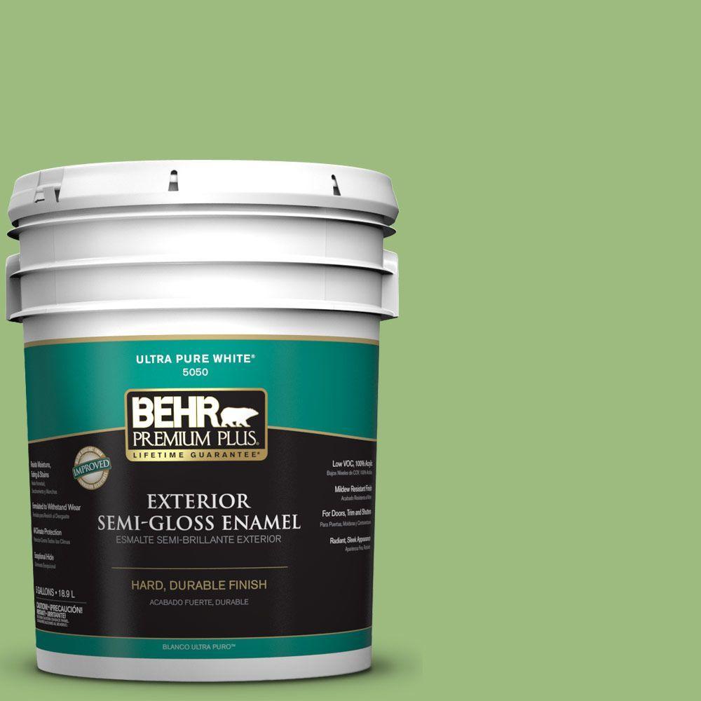 BEHR Premium Plus 5-gal. #P380-5 Gleeful Semi-Gloss Enamel Exterior Paint