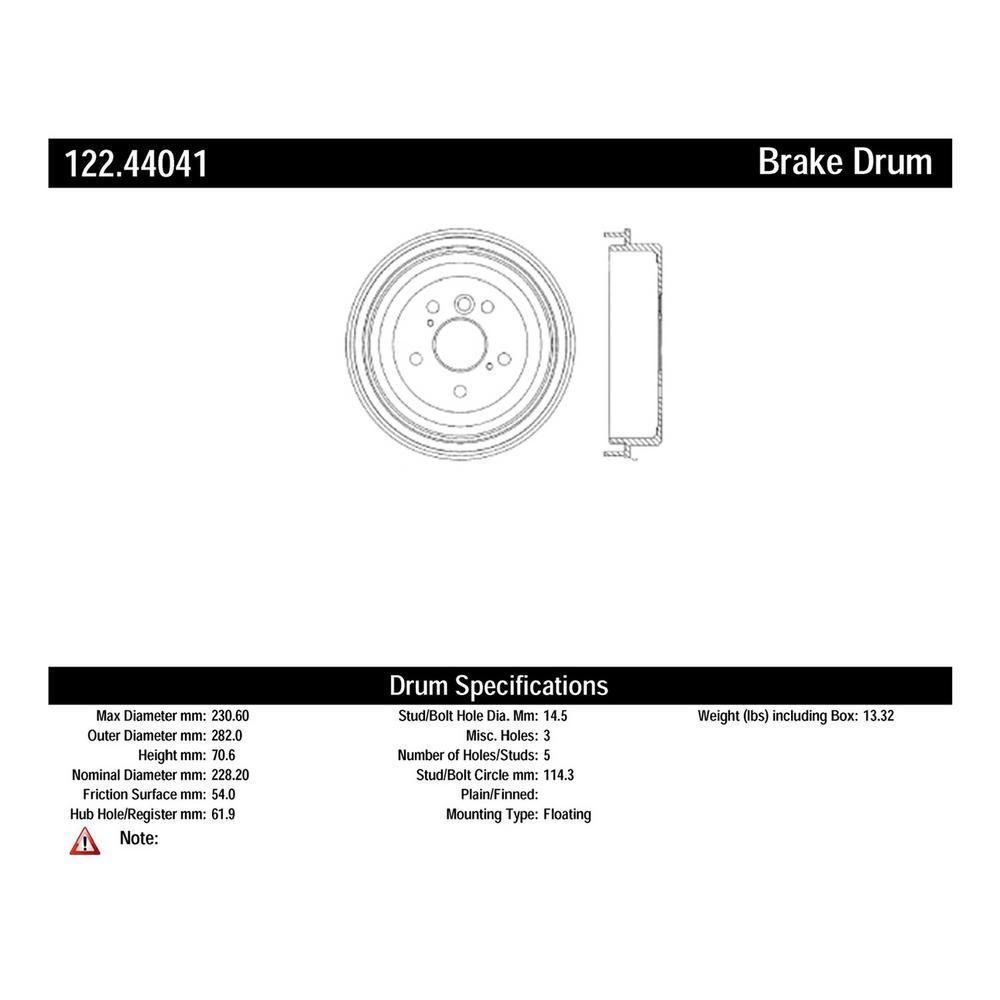 Centric Parts Premium Drum - Preferred - Rear