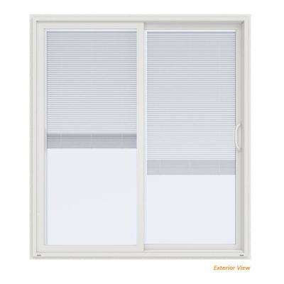 72 in. x 80 in. V-4500 Contemporary White Vinyl Right-Hand Full Lite Sliding Patio Door w/Blinds