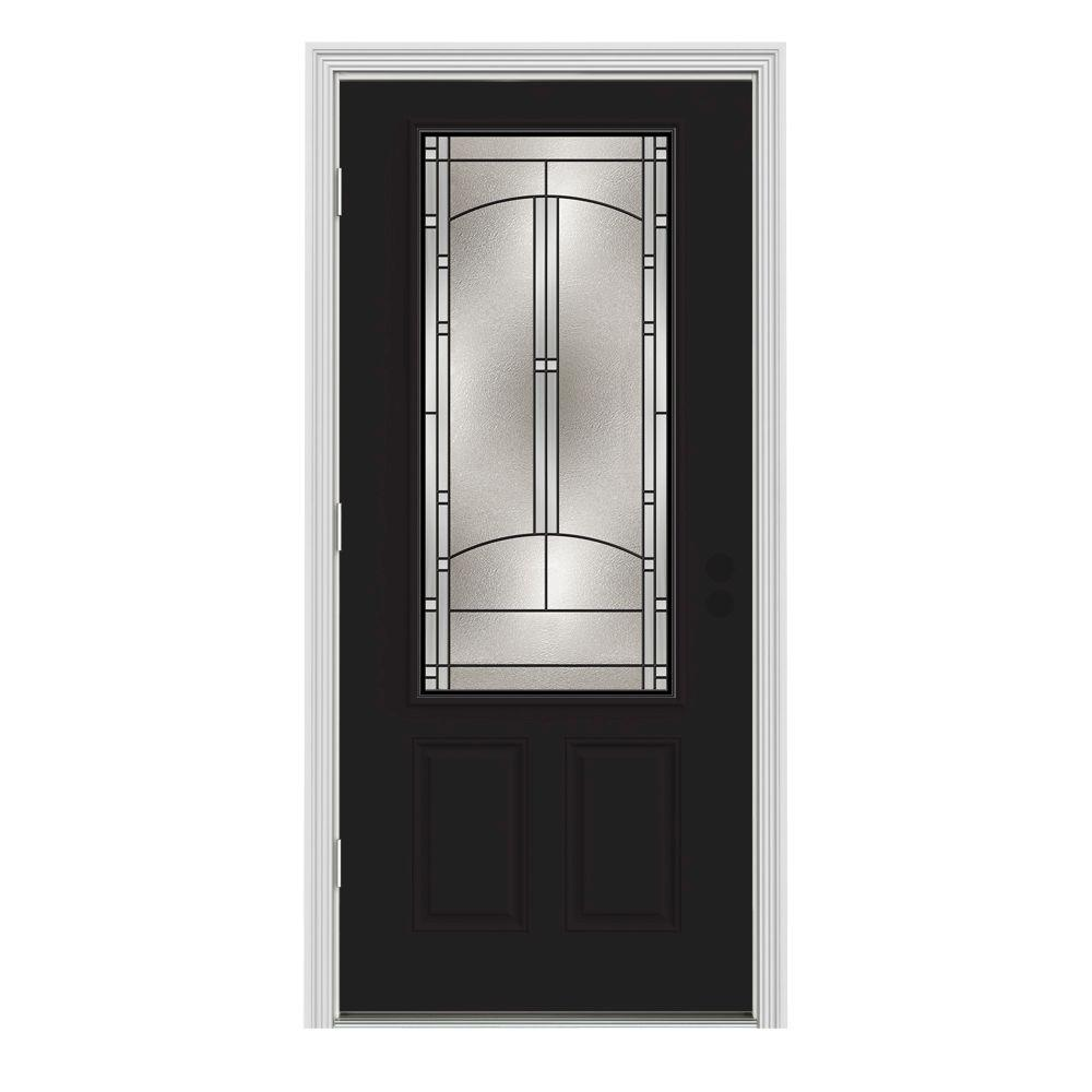 36 in. x 80 in. 3/4 Lite Idlewild Black Painted Steel