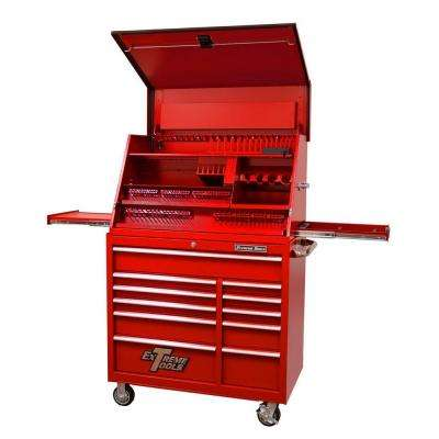 41 in. Deluxe Portable Workstation and 11-Drawer 24 in. Deep Roller Cabinet Combination, Red