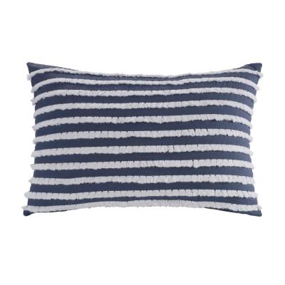 Trellis Blue Striped Polyester 12 in. x 18 in. Decorative Throw Pillow