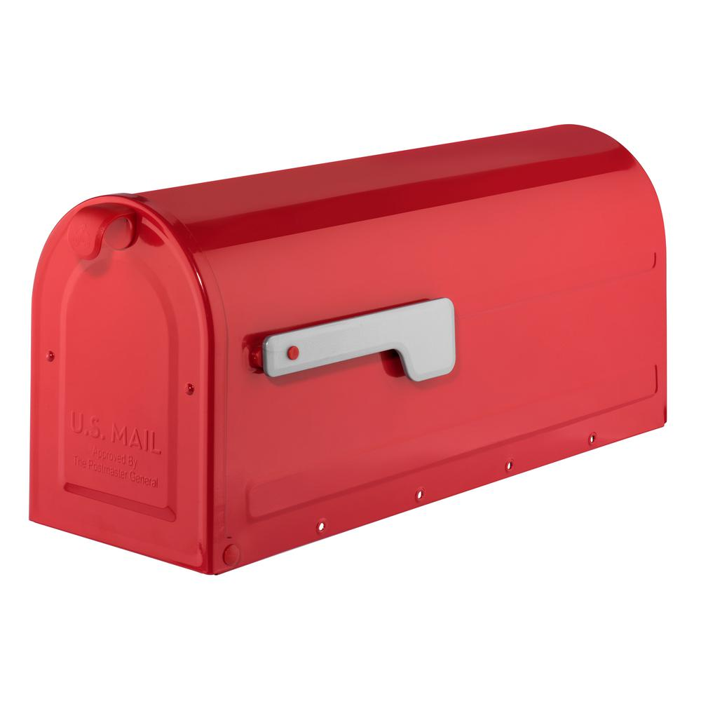 Architectural Mailboxes MB1 Post Mount Mailbox Red with Silver Flag