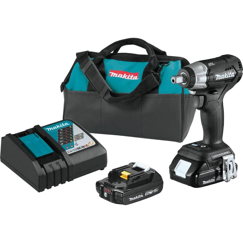 Makita 18-Volt LXT Lithium-Ion Sub-Compact Brushless Cordless 1/2 in. Square Drive Impact Wrench Kit