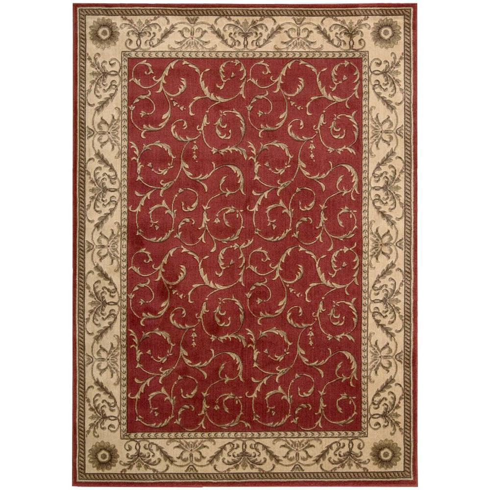 Nourison Scrollwork Red 3 ft. 6 in. x 5 ft. 6 in. Area Rug