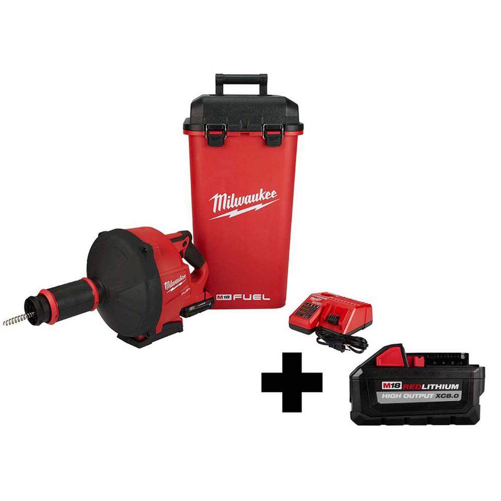 Milwaukee M18 FUEL 18-Volt Lithium-Ion Cordless Drain Cleaning Snake Auger Kit with 5/16 in. Cable and Free 8.0 Ah Battery was $644.0 now $499.0 (23.0% off)