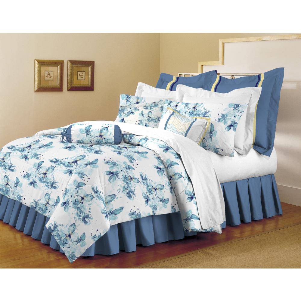 Home Dynamix Classic Trends White Light Blue 5 Piece Full/Queen Comforter  Set
