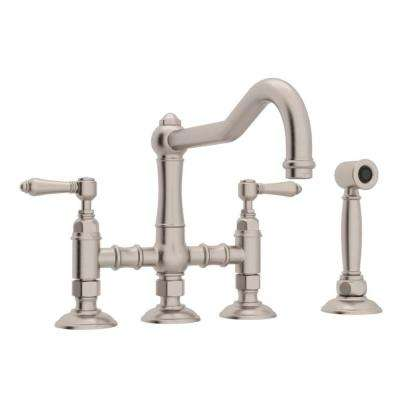 Country Kitchen 2-Handle Bridge Kitchen Faucet with Side Sprayer in Satin Nickel