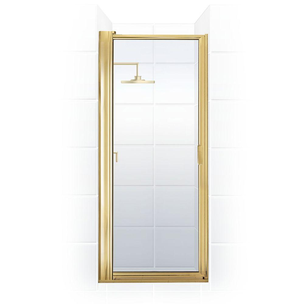 Coastal Shower Doors Paragon Series 31 in. x 65.5 in. Framed Maximum Adjustment Pivot Shower Door in Gold with Clear Glass