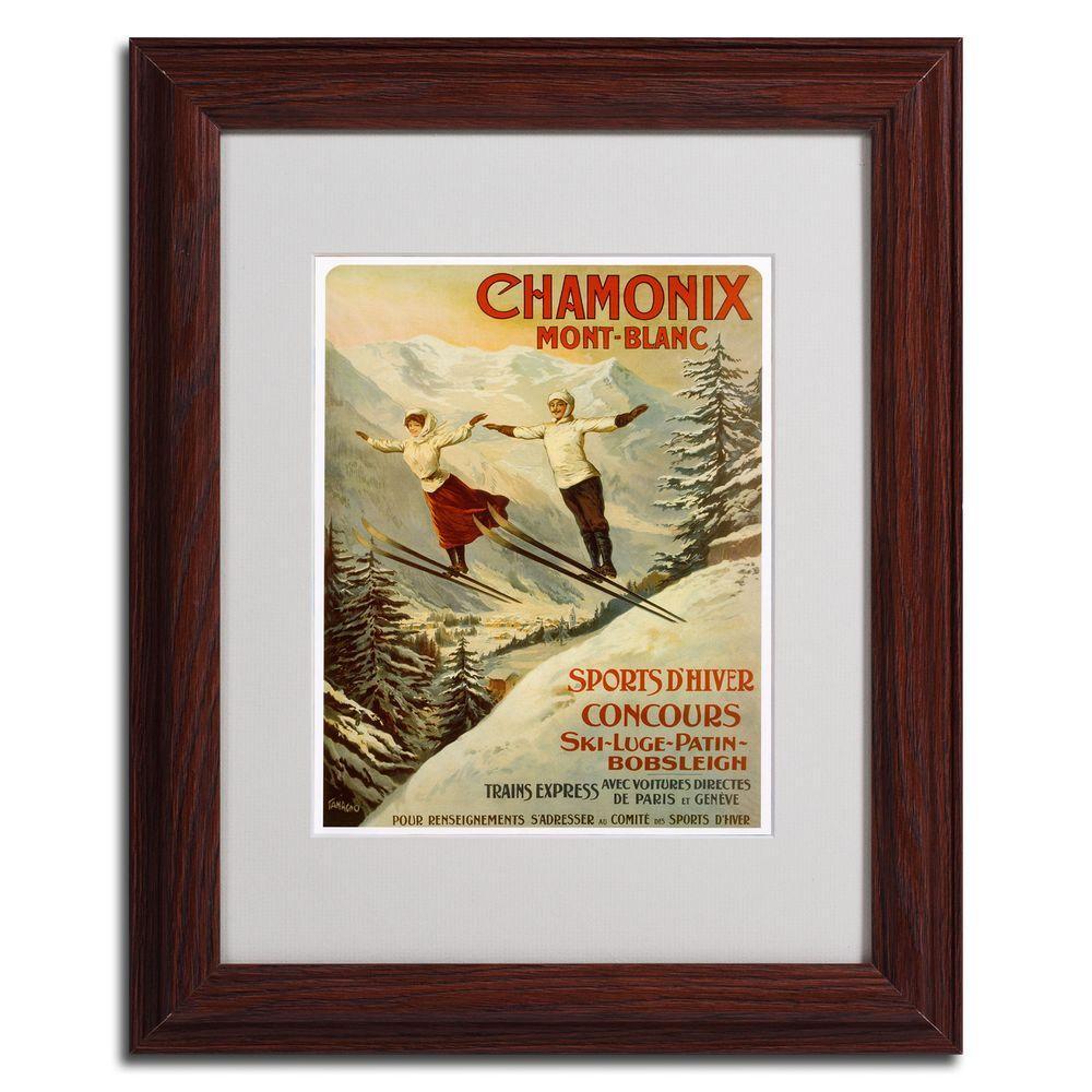 null 11 in. x 14 in. Chamonix Mont Blanc Dark Wooden Framed Matted Art