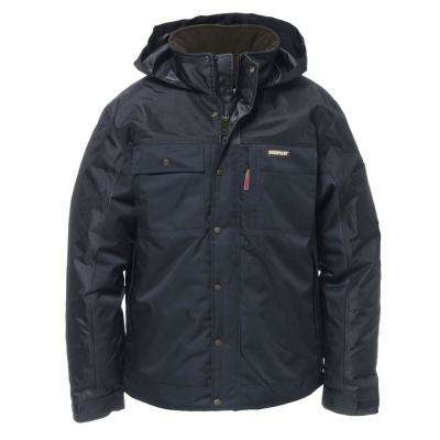 Insulated Twill Men's Size Medium Navy Polyester Water Resistant Insulated Jacket