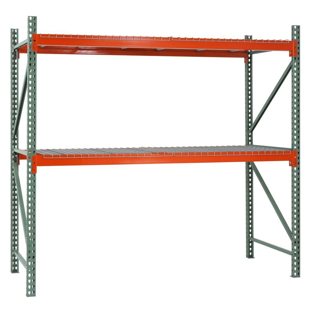 Edsal 120 in. H x 108 in. W x 42 in. D 2-Shelf Steel Pallet Rack Shelving Starter Kit in Green/Orange