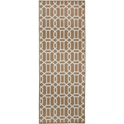 Washable Modern Fretwork Rich Tan 2.5 ft. x 7 ft. Stain Resistant Runner Rug