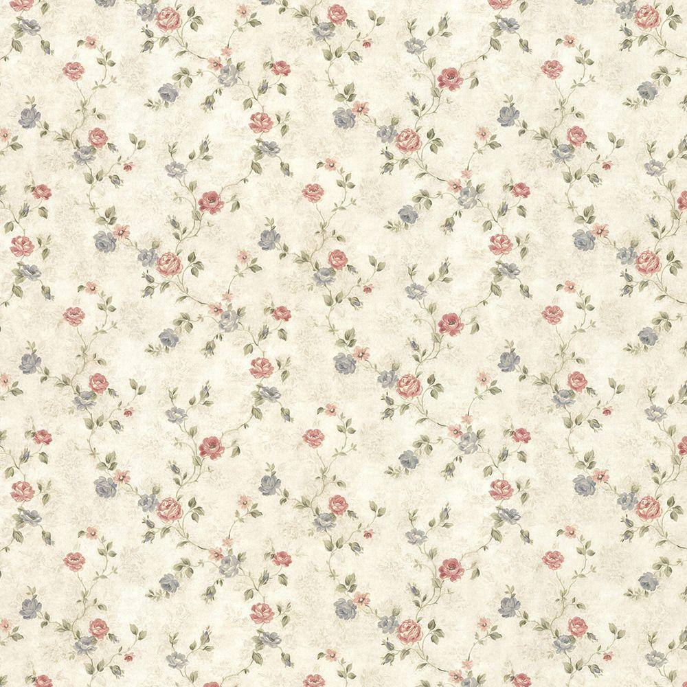Alex Beige Delicate Satin Floral Trail Wallpaper