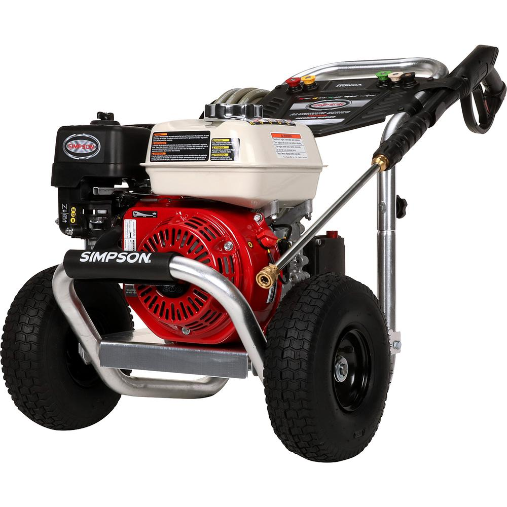 Simpson Aluminum 3600 psi at 2.5 GPM HONDA GX200 with AAA Triplex Pump Professional Gas Pressure Washer