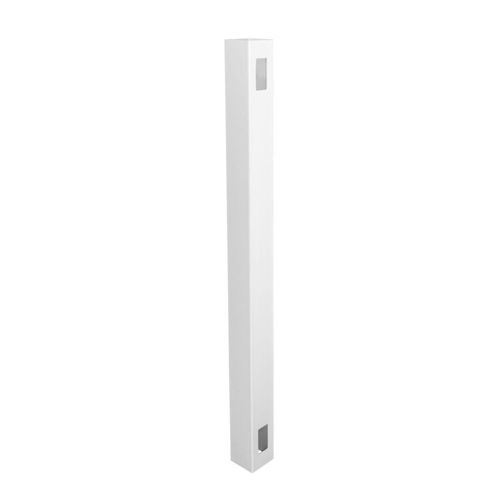 Weatherables 5 in. x 5 in. x 8 ft. White Vinyl Fence End Post