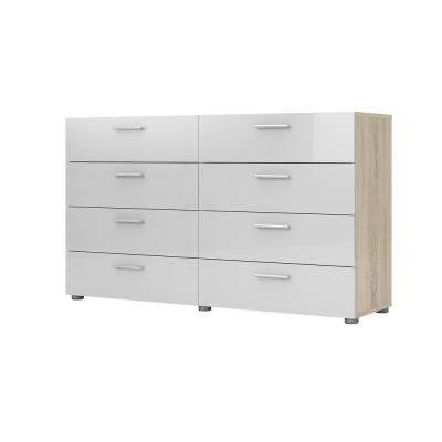 Austin 8-Drawer Oak Structure/White High Gloss Double Dresser
