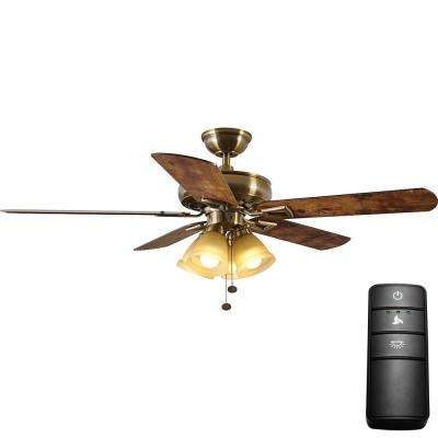 Lyndhurst 52 in. LED Antique Brass Ceiling Fan with Light Kit and Remote Control