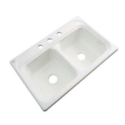 Chesapeake Drop-In Acrylic 33 in. 3-Hole Double Bowl Kitchen Sink in Biscuit