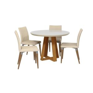 Tremendous Luxor Rochelle 45 27 In 5 Piece Off White And Dark Beige Caraccident5 Cool Chair Designs And Ideas Caraccident5Info