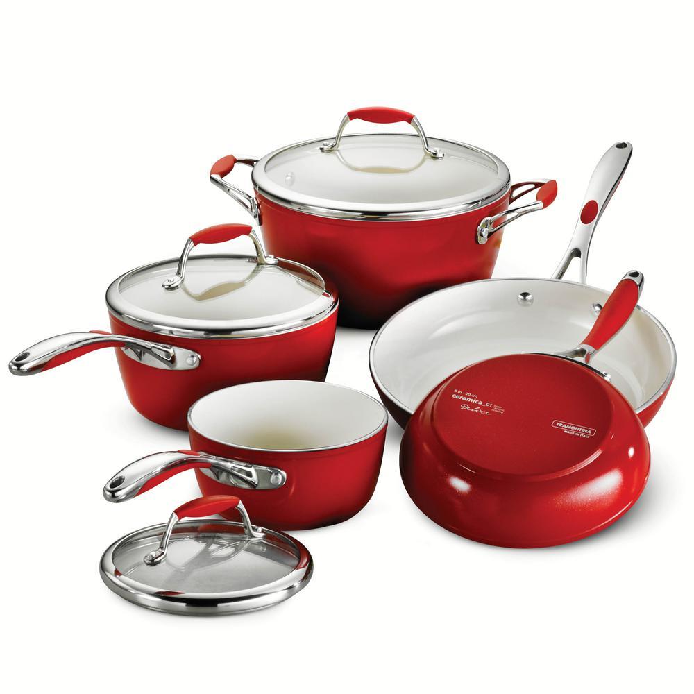 Gourmet Ceramica Deluxe 8-Piece Metallic Red Cookware Set with Lids