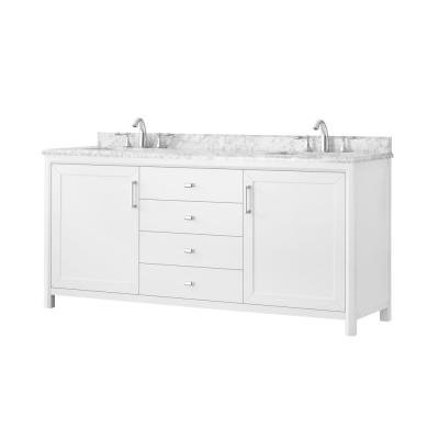 Rockleigh 72 in. W x 22 in. D Bath Vanity in White with Marble Vanity Top in Carrara White with White Basin
