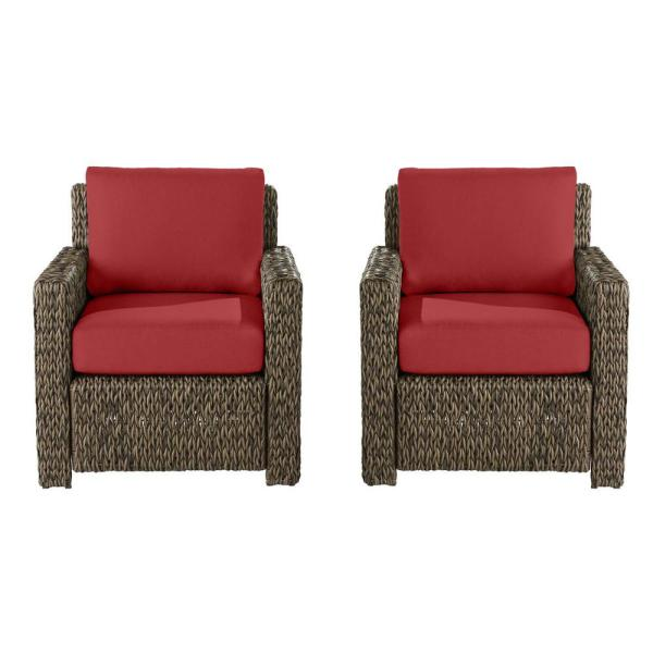 Laguna Point Brown Wicker Outdoor Patio Lounge Chair with Cushion Guard Chili Red Cushions (2-Pack)