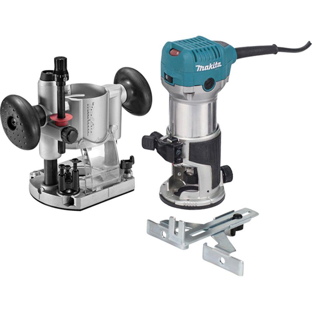 Makita 6.5 Amp 1-1/4 HP Corded Plunge Base Variable Speed Compact Router Kit With Collet, Base, Straight Guide, (2) Wrenches