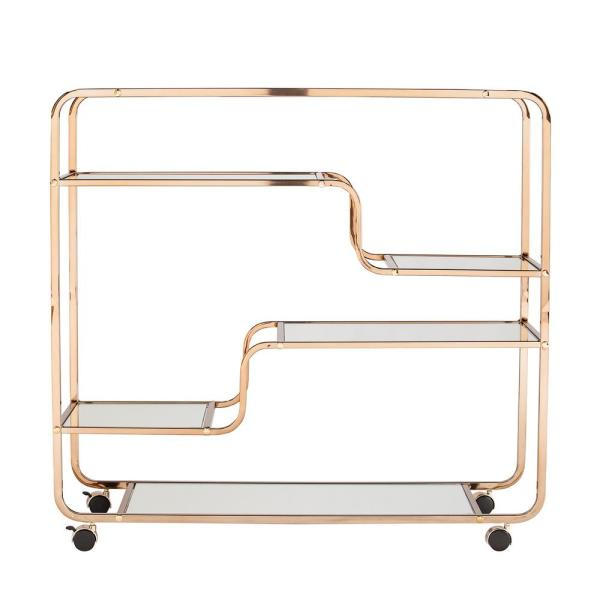 Southern Enterprises E mmane Art Deco Mirrored Bar Cart HD523866
