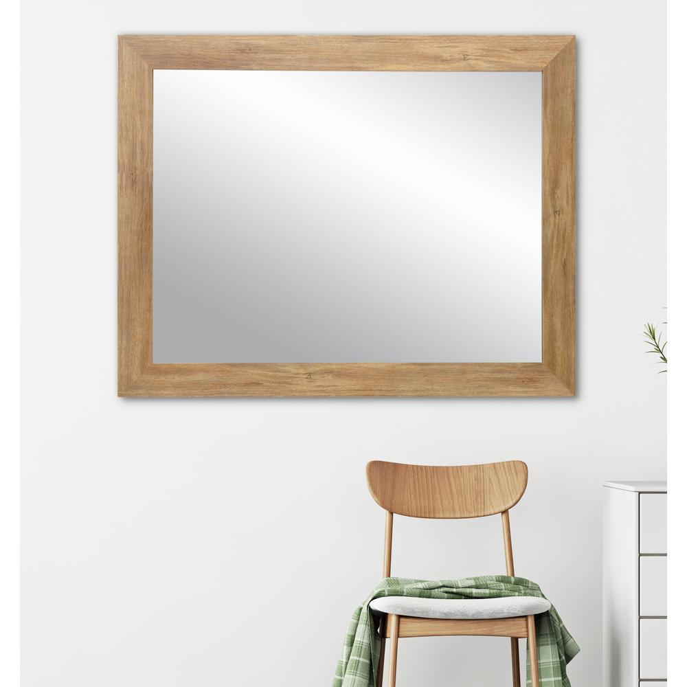 Blonde 32 in. W x 38 in. H Framed Rectangular Bathroom Vanity Mirror in Light Brown