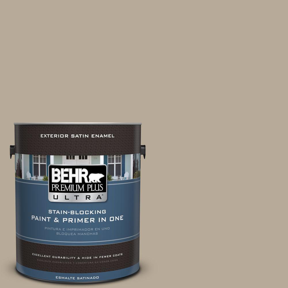 BEHR Premium Plus Ultra 1-gal. #N310-4 Desert Khaki Satin Enamel Exterior Paint