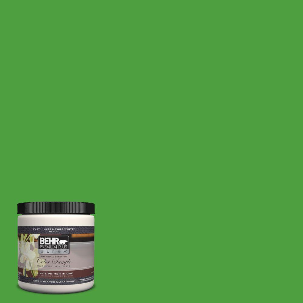 BEHR Premium Plus Ultra 8 oz. #S-G-440 Green Acres Flat Interior/Exterior Paint and Primer in One Sample