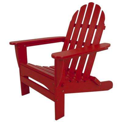 Classic Sunset Red Plastic Patio Adirondack Chair