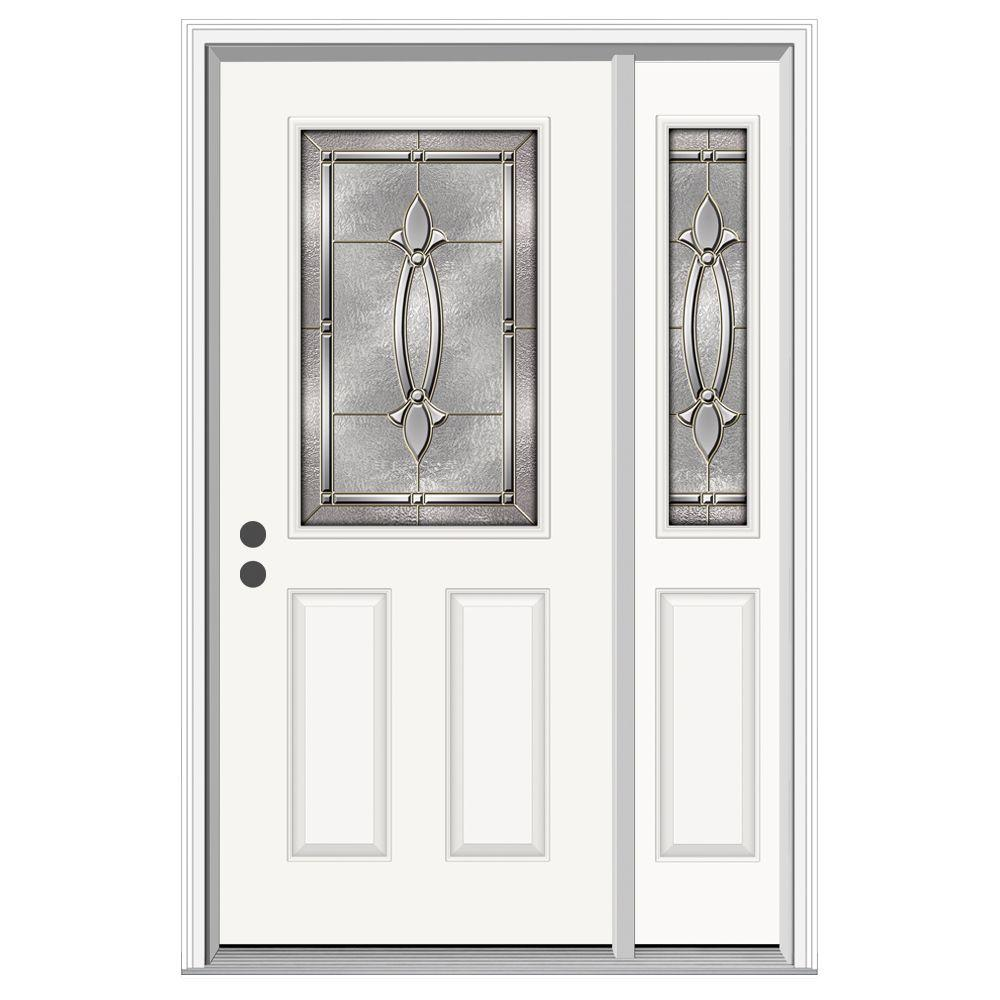 Jeld wen 52 in x 80 in 1 2 lite blakely primed steel for Jeld wen front entry doors