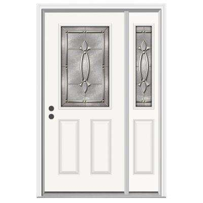 52 in. x 80 in. 1/2 Lite Blakely Primed Steel Prehung Right-Hand Inswing Front Door with Right-Hand Sidelite