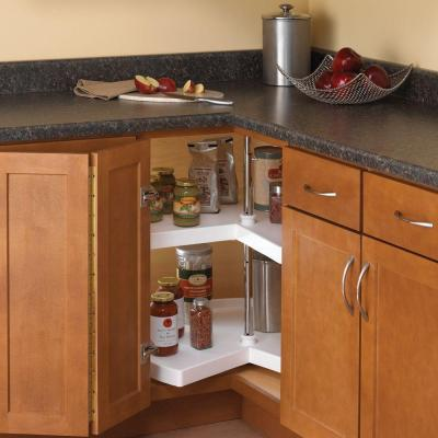 32 in. H x 28 in. W x 28 in. D 2-Shelf Kidney Shaped Lazy Susan Cabinet Organizer