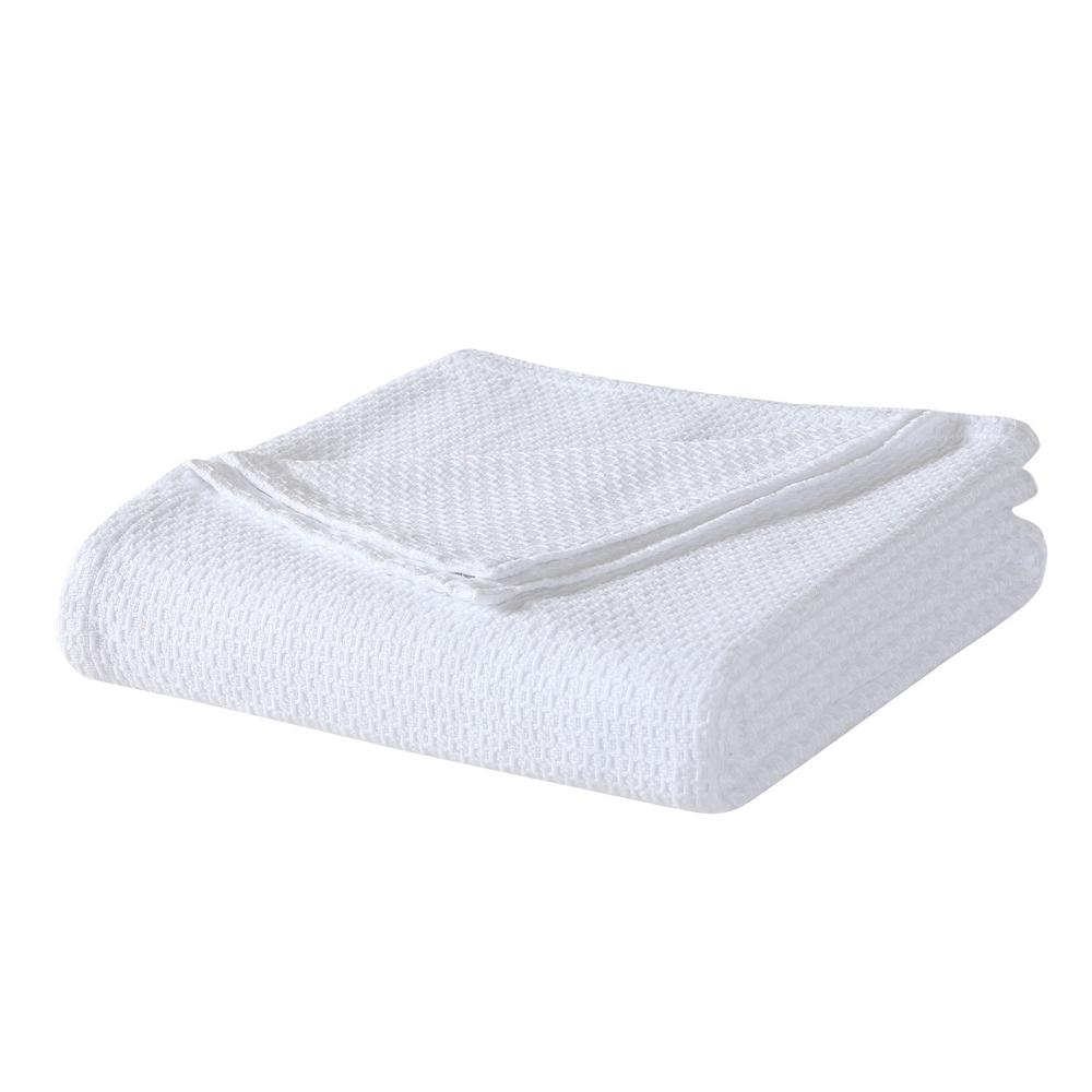 Laura Ashley White Cotton Queen Blanket