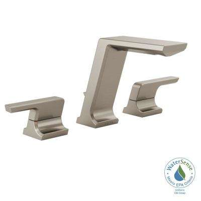 Pivotal 8 in. Widespread 2-Handle Bathroom Faucet with Metal Drain Assembly in Stainless