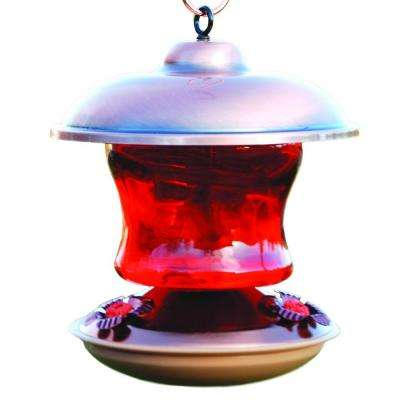 Copper-Color Ruby Glass Hummingbird Feeder