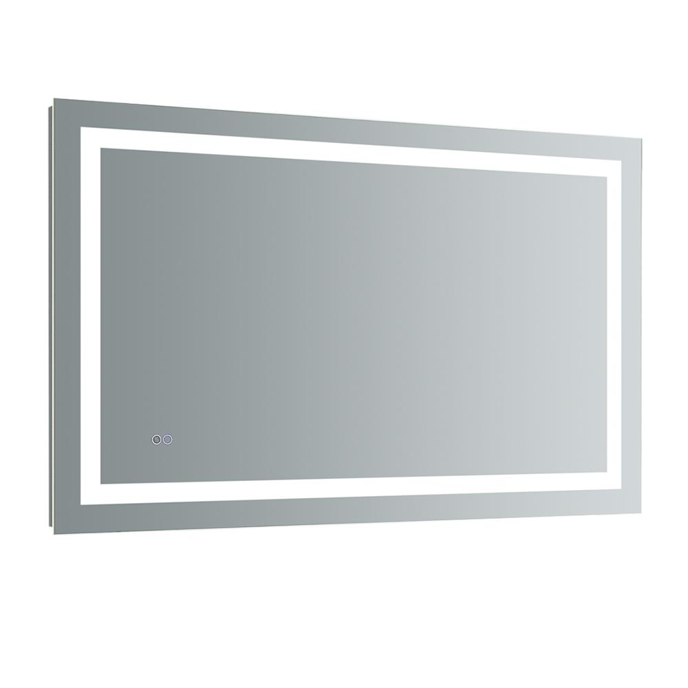 Fresca Santo 48 in. W x 30 in. H Frameless Single Bathroom Mirror with LED Lighting and Mirror Defogger