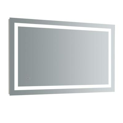 Santo 48 in. W x 30 in. H Frameless Single Bathroom Mirror with LED Lighting and Mirror Defogger