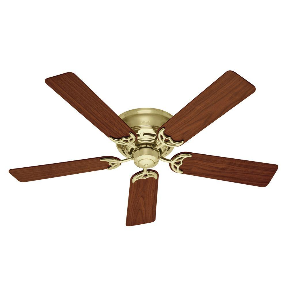 Hunter Low Profile Iii 52 In Indoor Bright Brass Ceiling Fan 53070 The Home Depot